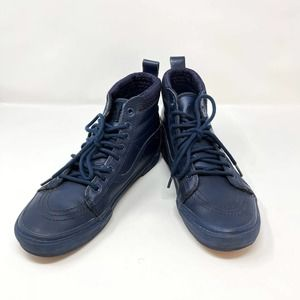Vans Off The Wall Blue 721356 Round Toe High Top Skater Shoes Mens 9.5 Womens 11